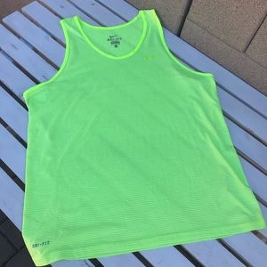 Nike Men's Bright Neon Yellow/Green Dri Fit Tank